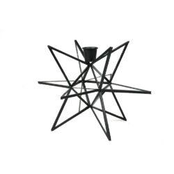 Lysestage i stjerneform i sort metal og glas