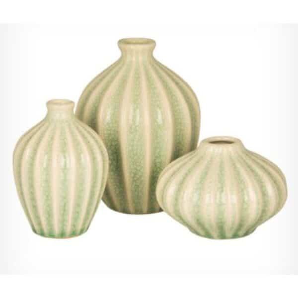 Vaser med riller i grøn, sæt a 3 stk