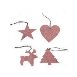 Jule ornaments i blomme farvet hessian