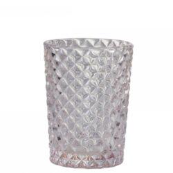 Glaskrus i rosa med fazet mønster
