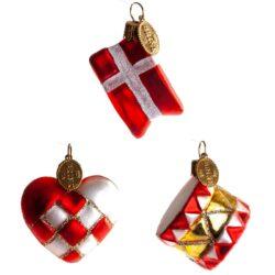 Klassiske julekugler med hjerte, tromme og flag