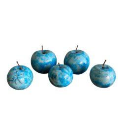 Raku brændte æbler i middelhavsblå