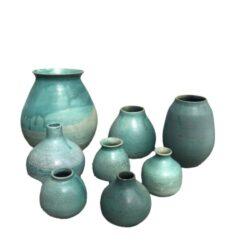 Unika vaser i flot havgrøn