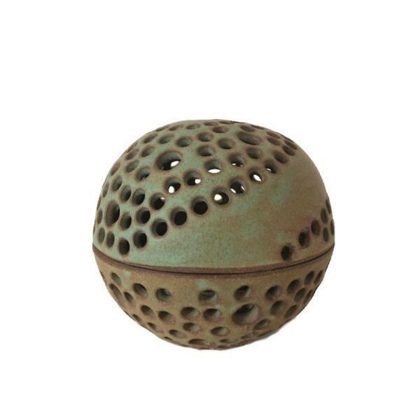 Rund unika keramik lysestage - grøn - Produkter, Brugskunst, Lysestager og lanterner, Unika keramik - Pottery Studio